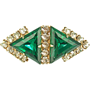 Vintage Art Deco Style Green and Crystal Pin