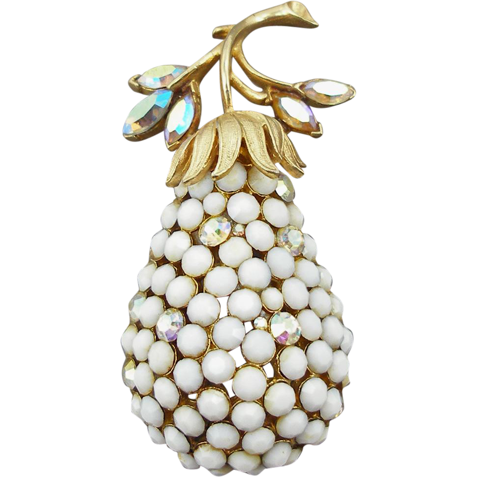 Vintage Signed Coro Pear Pin