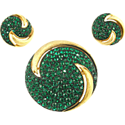 Vintage Jonette Jewelry Pavé Emerald Rhinestone Demi Parure