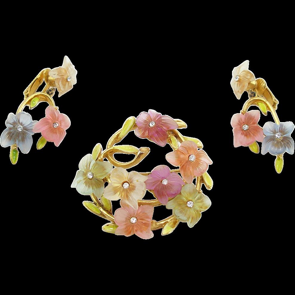 Vintage Signed Art Lucite Floral Demi Parure