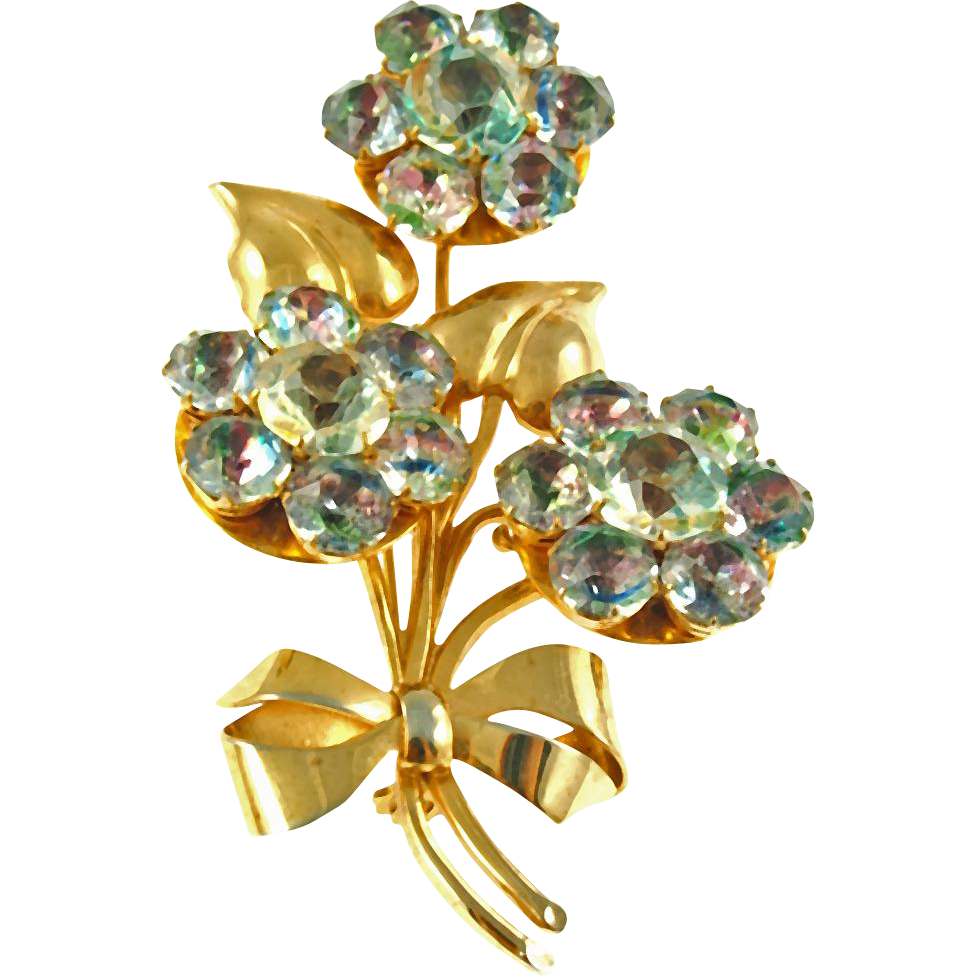 Vintage Floral Pin with Iris Stones