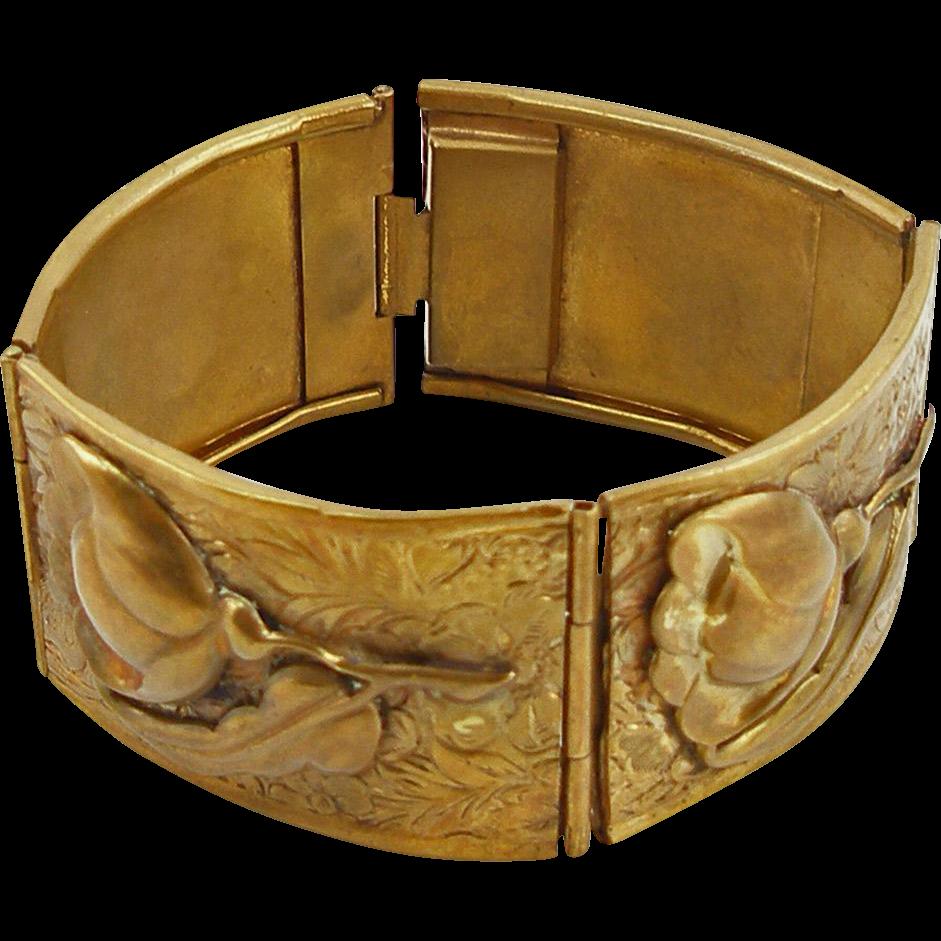 Vintage Brass Floral Bracelet