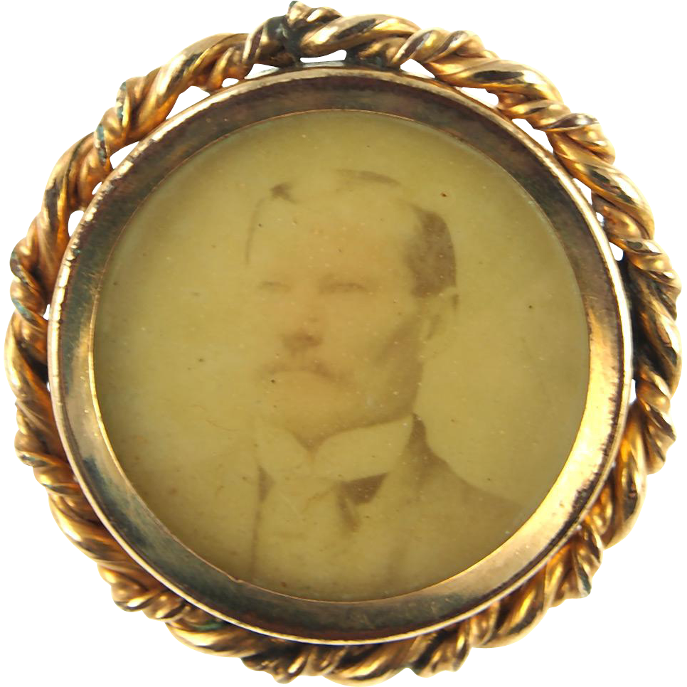 Antique Victorian Portrait Pin