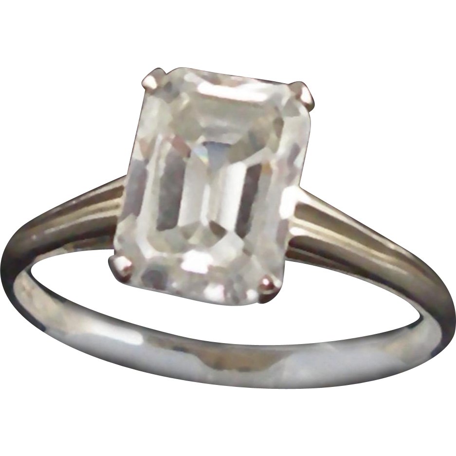 Vintage 14K White Gold Ring with Emerald Cut Stone