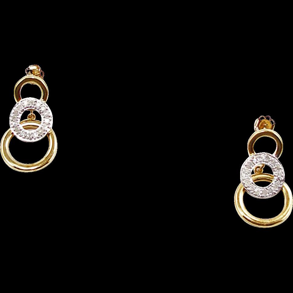 Vintage 10K Diamond Pierced Earrings