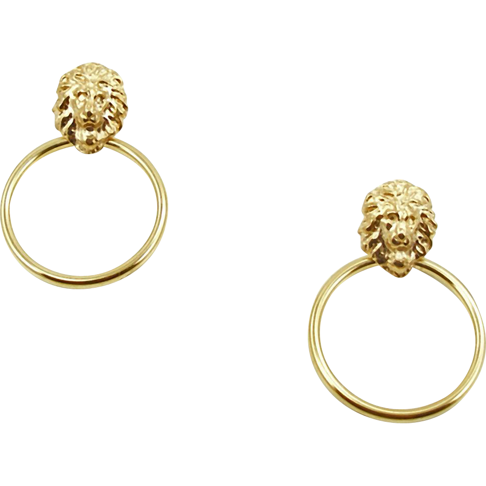 Vintage 14K Lion Head Doorknocker Pierced Earrings
