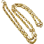 Long Vintage Tube Link and Rhinestone Ball Necklace