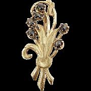 Vintage 18K Black Star Sapphire Floral Brooch