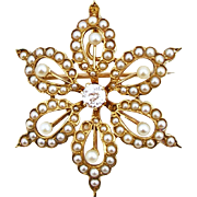 Vintage 14K Cultured Pearl and Diamond Flower Brooch or Pendant