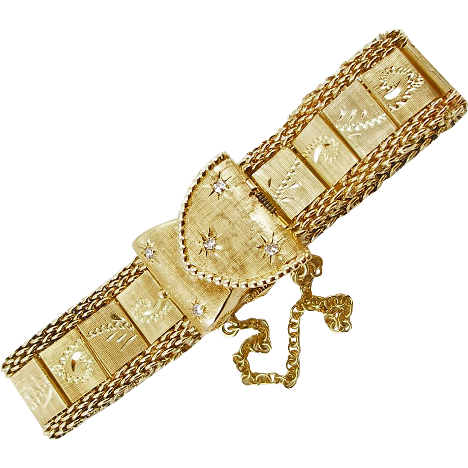 Vintage 14K Yellow Gold Hidden Watch Bracelet