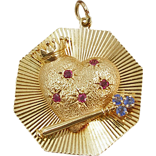 Large Vintage 14K Henry Dankner Queen of Hearts Charm or Pendant