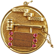 Large Vintage 14K Henry Dankner Knock on Wood Charm or Pendant