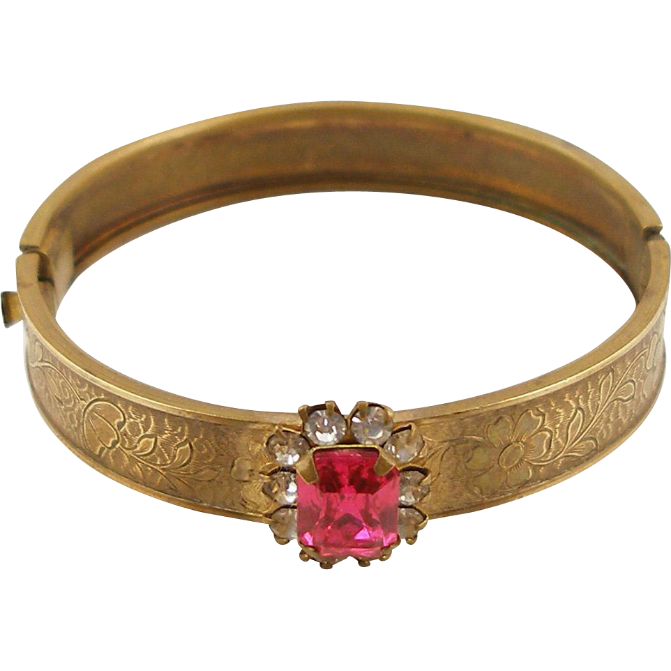 Vintage 1950's Child's Brass Bangle with Rhinestones