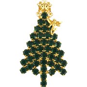 Anthony Attruia Emerald Green Christmas Tree Pin Holiday Jewelry