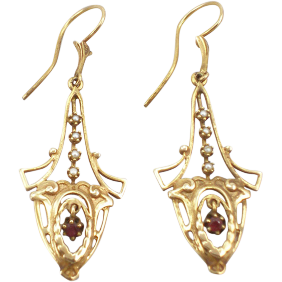 Antique Victorian ruby  & cultured seed pearl earrings