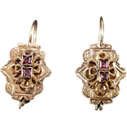Antique Victorian 14K with Amethyst Earrings