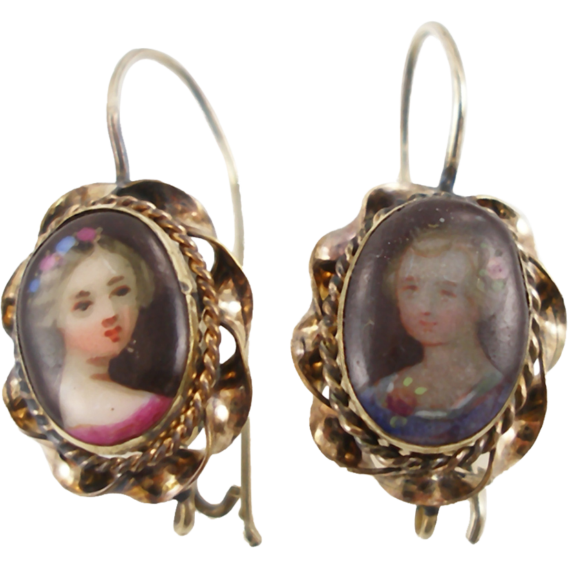 Antique Victorian Hand Painted Porcelain Earrings