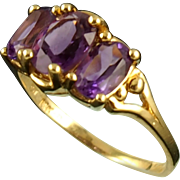 Vintage 14K Triple Amethyst Ring