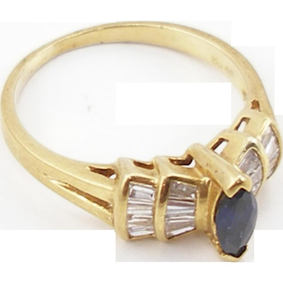 Vintage 18K Diamond & Sapphire Ring