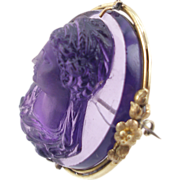 Antique Victorian 14K Amethyst Glass High Relief Cameo Brooch