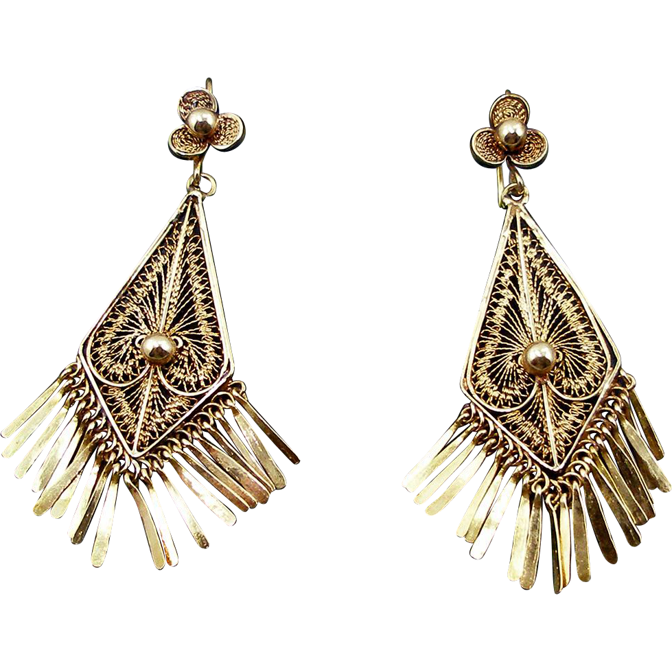 HOLD Antique Oaxacan Victorian 14K Earrings