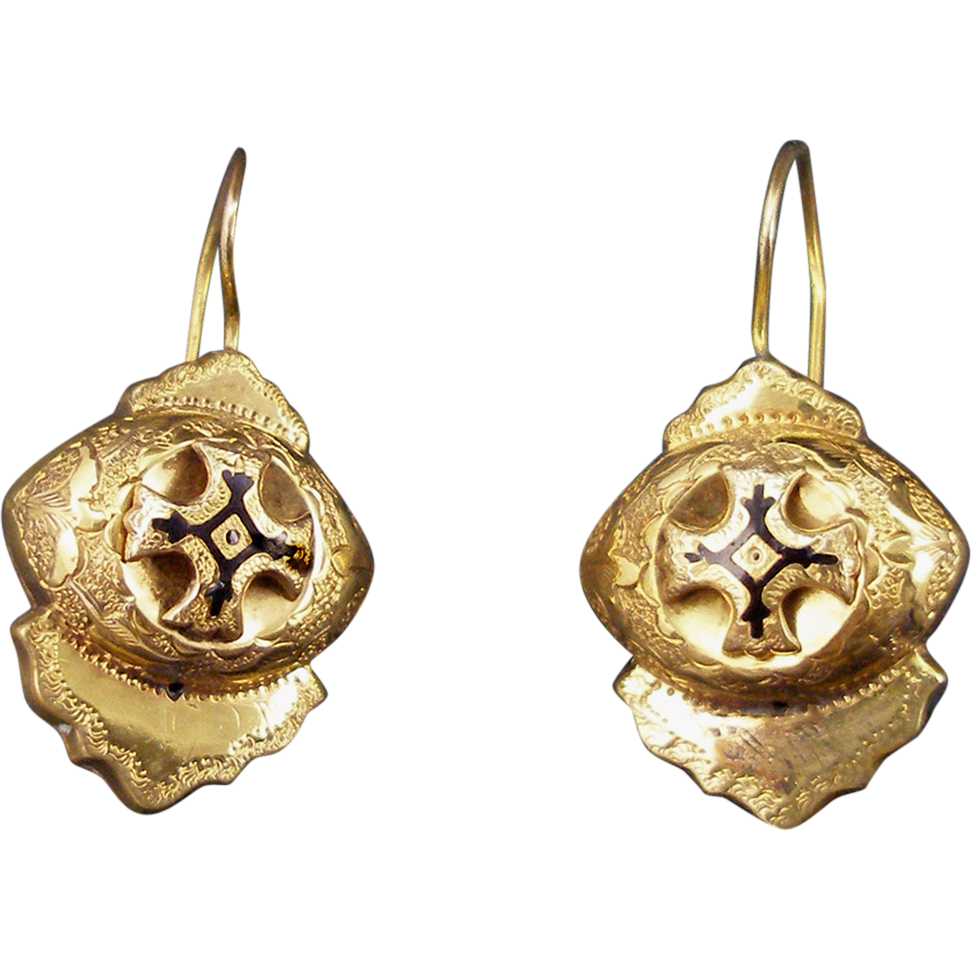 Antique Victorian Gold Filled Taille d'Epargne Earrings