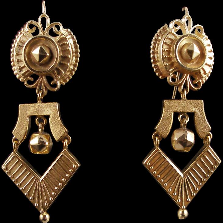 On Layaway - Antique Victorian 14K Etruscan Revival Earrings