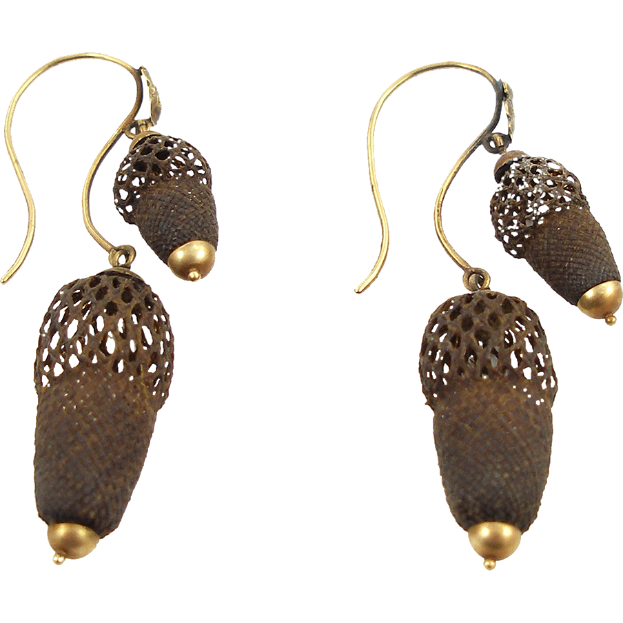 Victorian 14K Hairwork Double Acorn Earrings