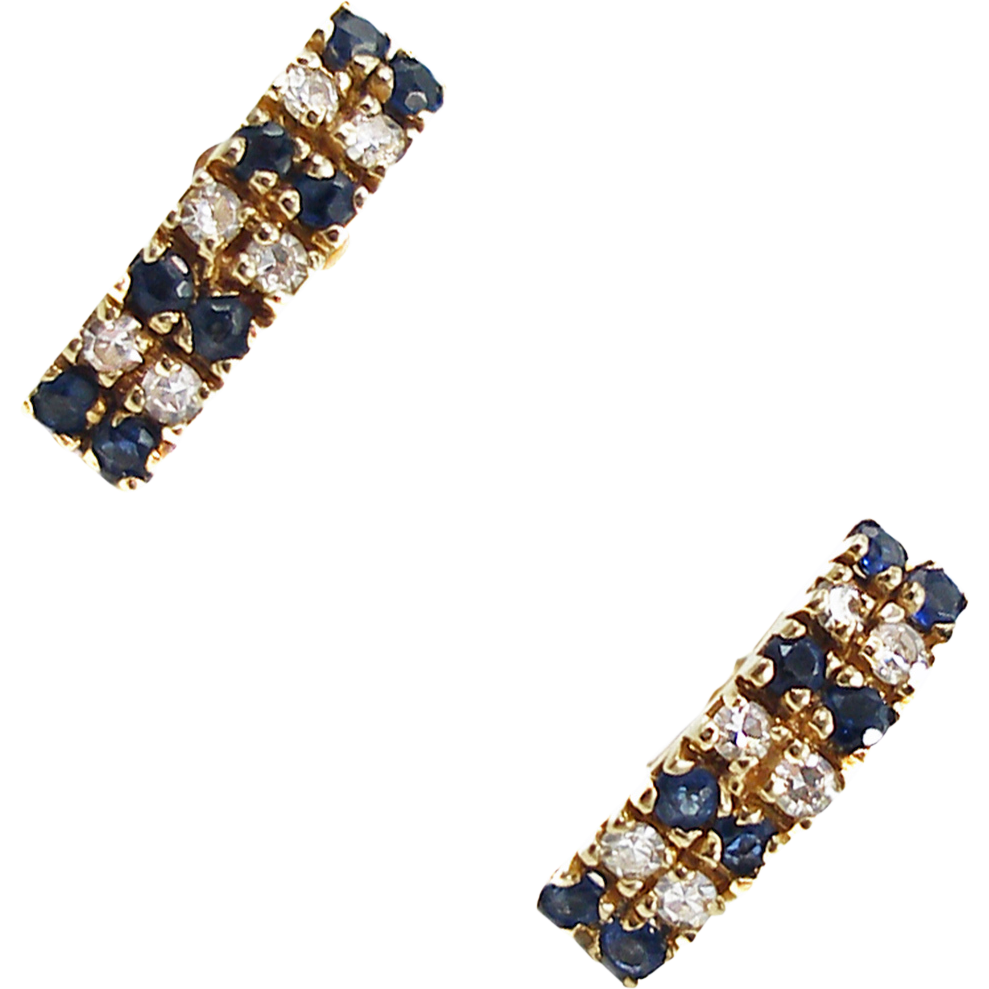 Vintage 14K Diamond & Sapphire Pierced Earrings