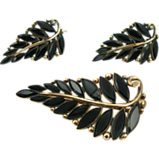 Antique Victorian French Jet Leaf Pin and Earrings
