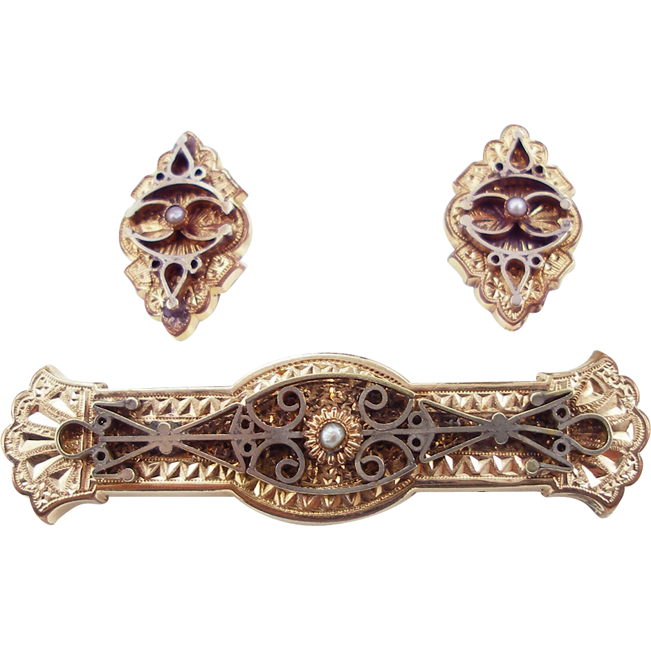 Antique Victorian Bar Pin and Matching Earrings