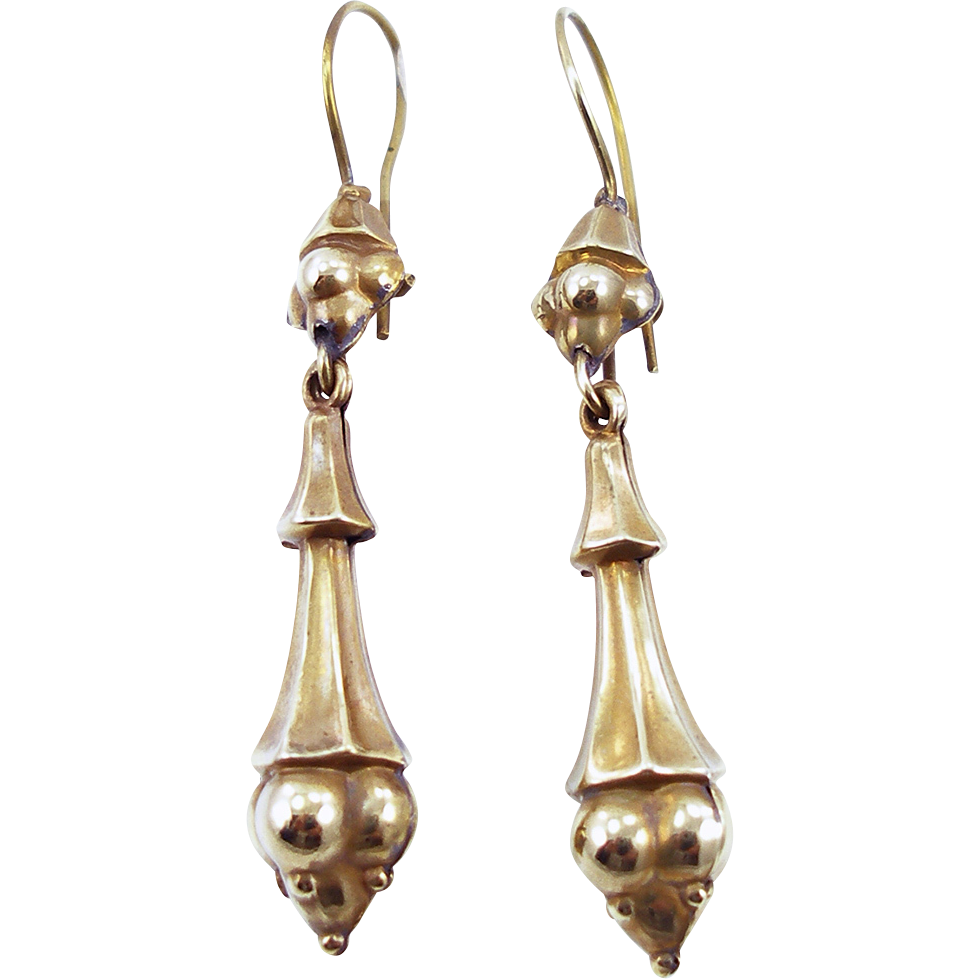 Antique Victorian Gold Filled Pendant Earrings