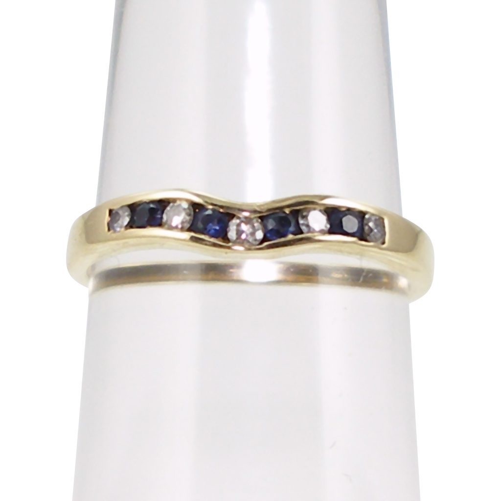 Vintage Jeff Cooper 14K Diamond and Sapphire Band