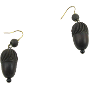 Antique Victorian Bog Oak Acorn Earrings