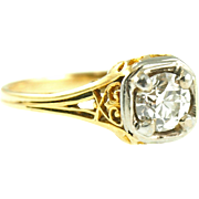 Vintage 18K Yellow Gold Filigree .77ct Diamond Ring