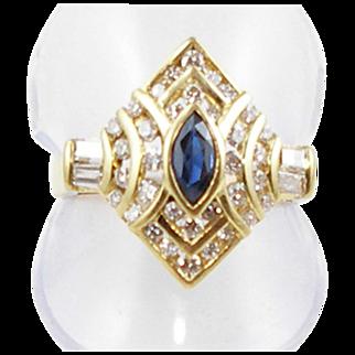 Vintage 18K gold diamond & sapphire ring