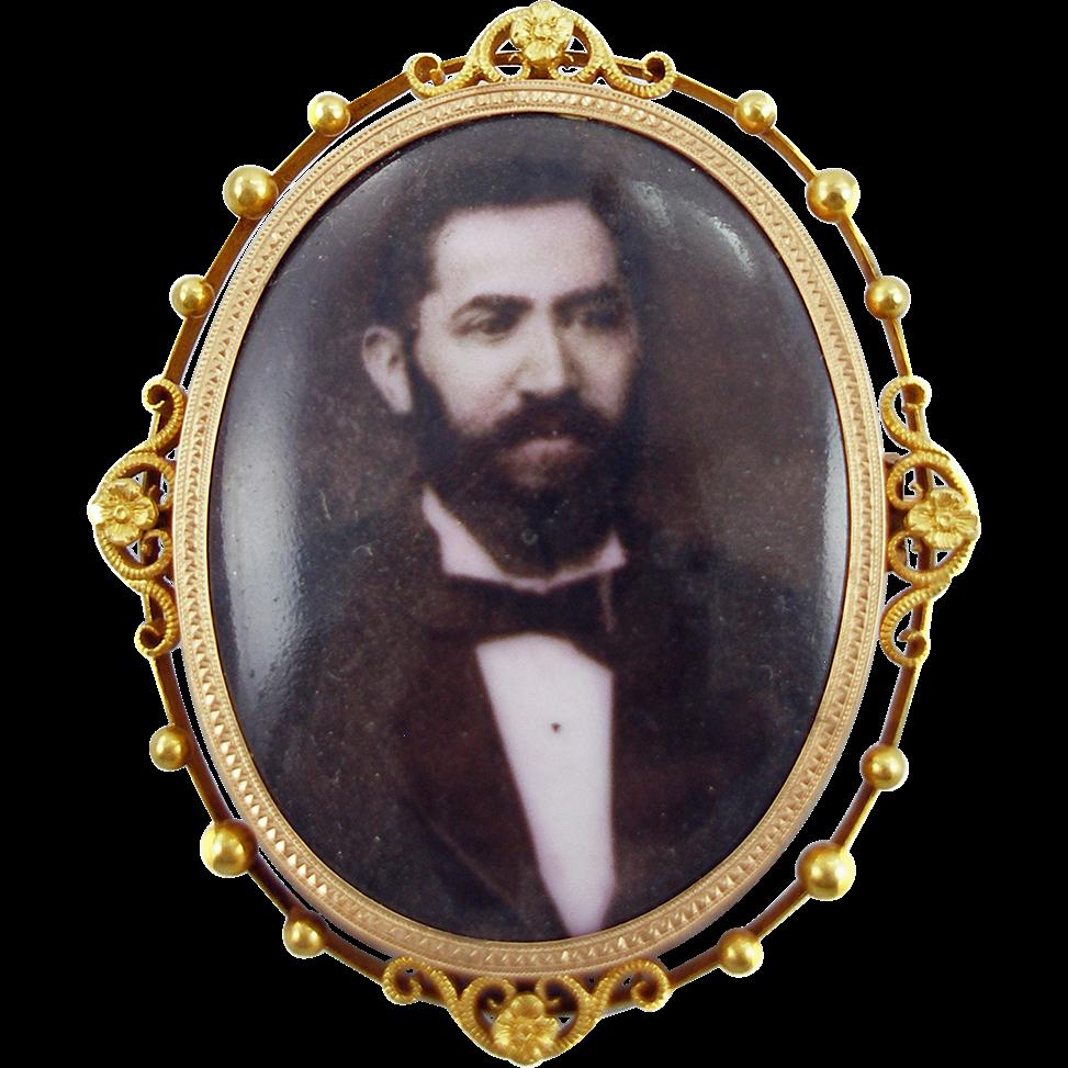 Antique Estate 14K Victorian Memorial Portrait Brooch