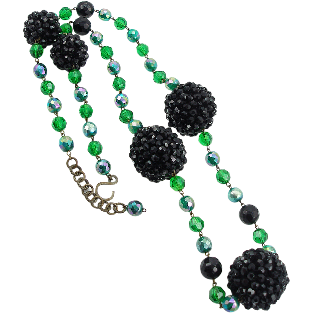 Vintage Blackberry Beaded Necklace