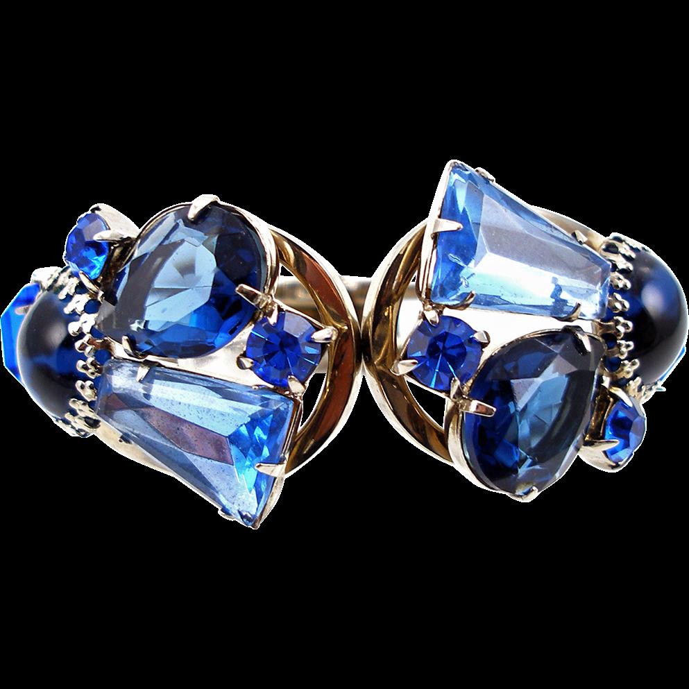 Vintage Front Opening Blue Hinged Clamper Bracelet