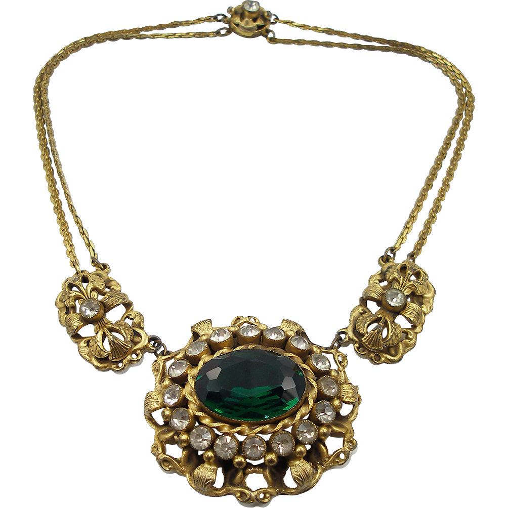 Vintage Victorian Revival Faux Emerald Necklace