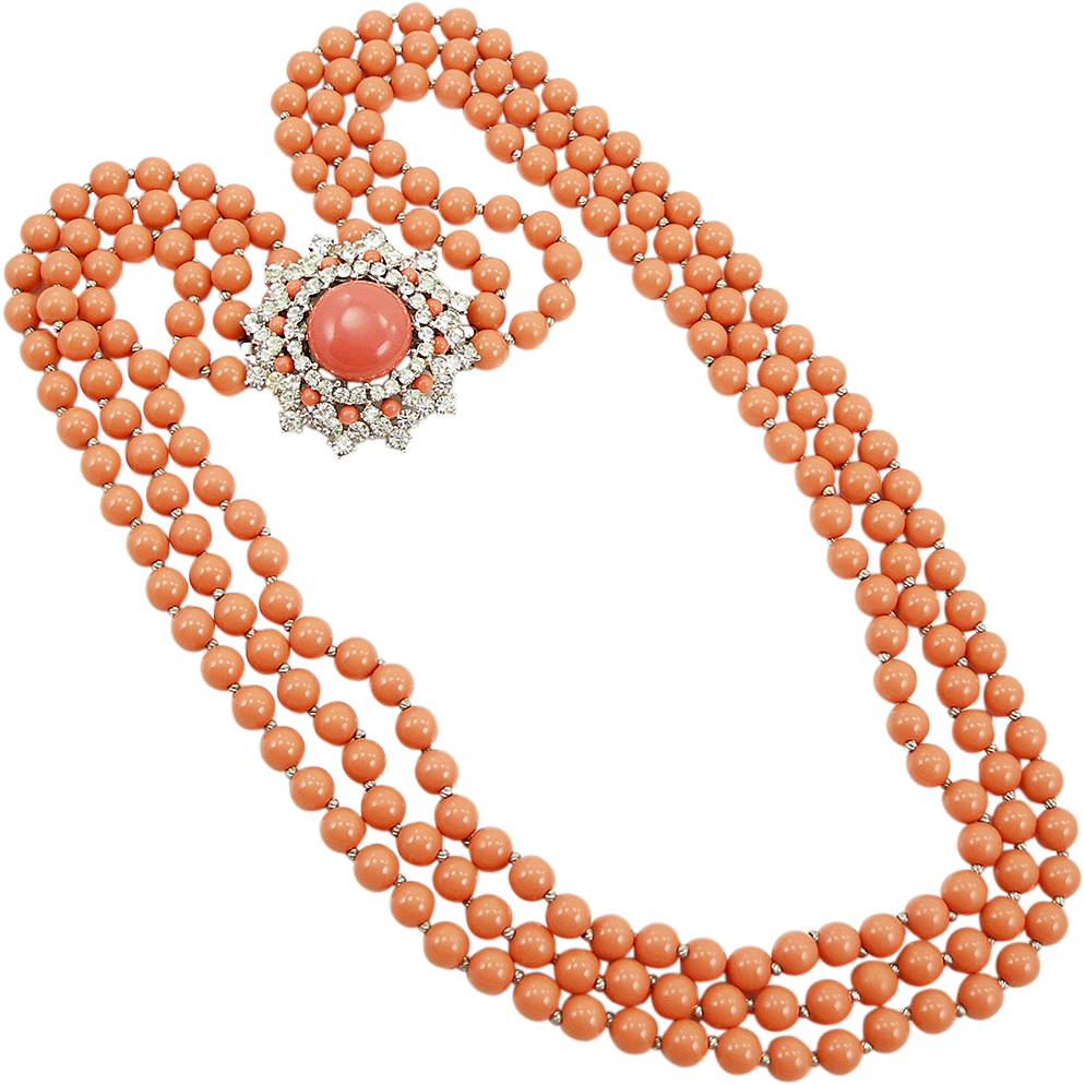 Vintage Trifari Coral Colored Convertible Necklace