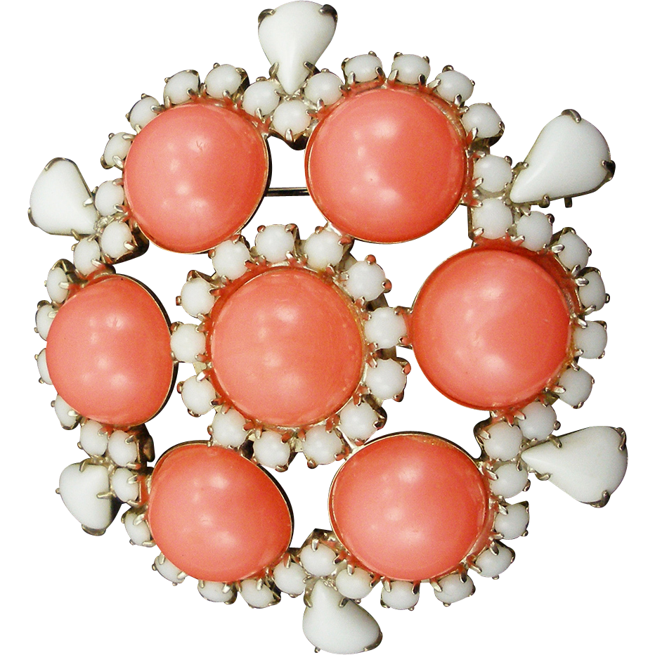 Unsigned Coral and White Domed Brooch