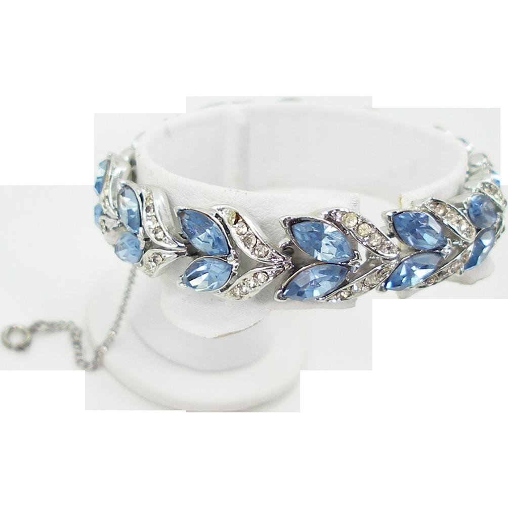 Vintage Coro Aquamarine Rhinestone Bracelet