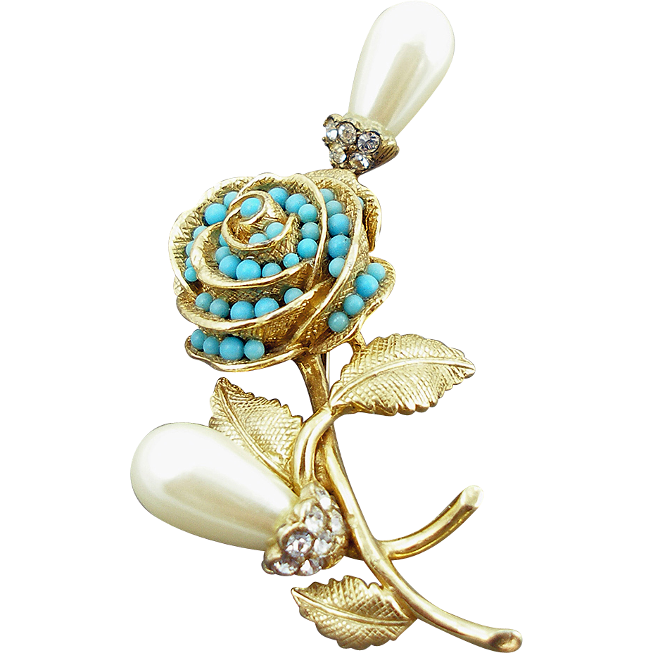 Castlecliff Faux Pearl and Turquoise Floral Pin