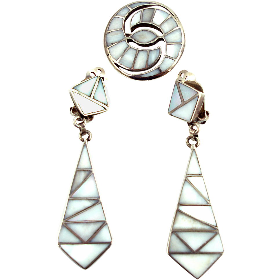 Vintage Sterling Pin and Dangle Earrings with MOP Inlays