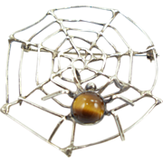 Vintage Sterling Spider Web with Spider Pin