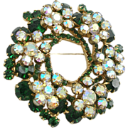 Vintage Juliana (DeLizza & Elster) Green Wreath Pin
