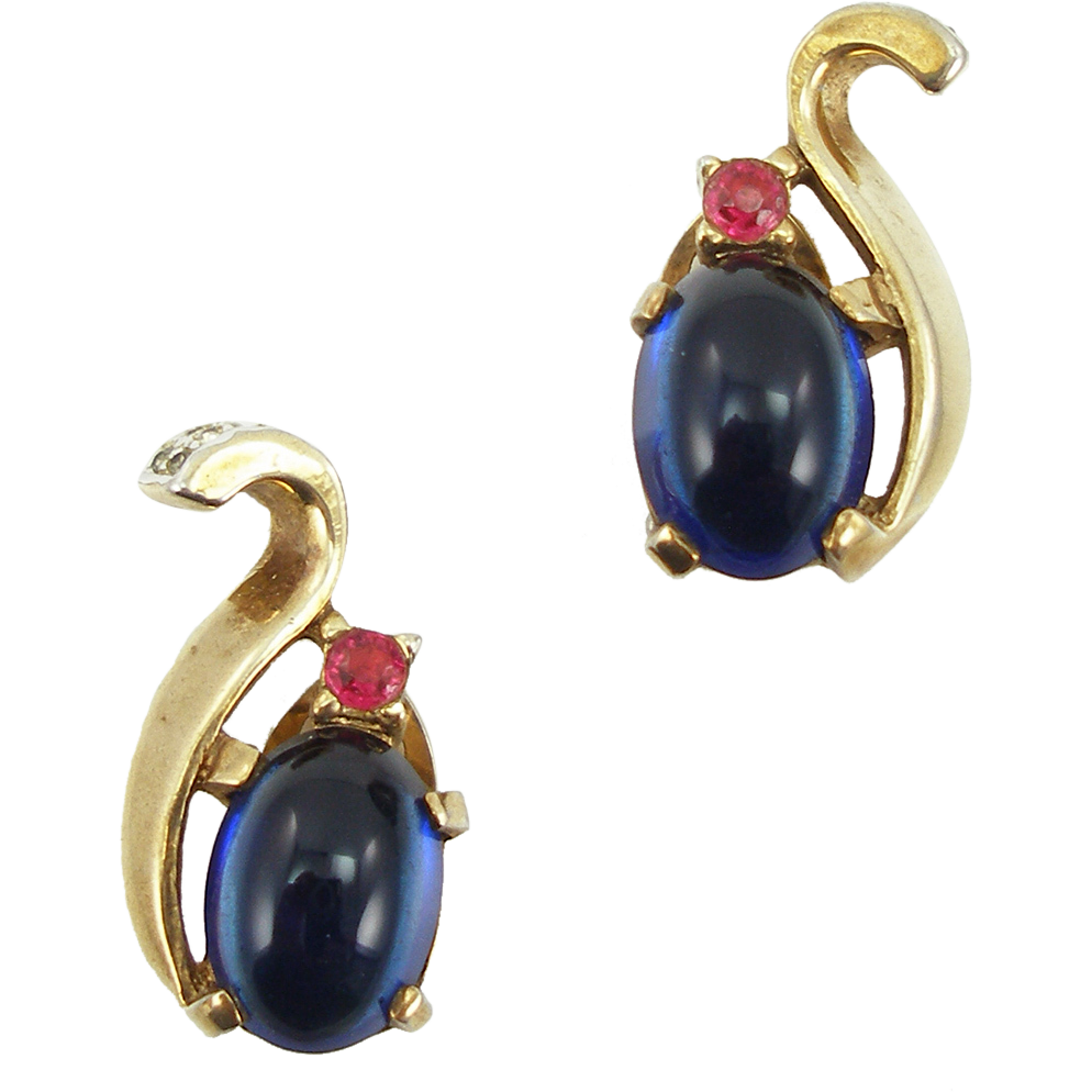 Vintage Trifari Blue Cabochon Designer Clip Earrings