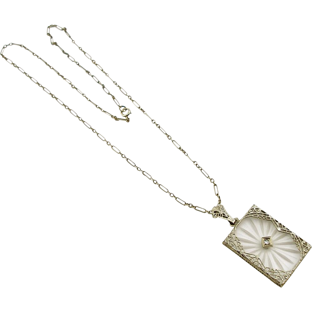 Vintage 14K Art Deco Rock Crystal Necklace