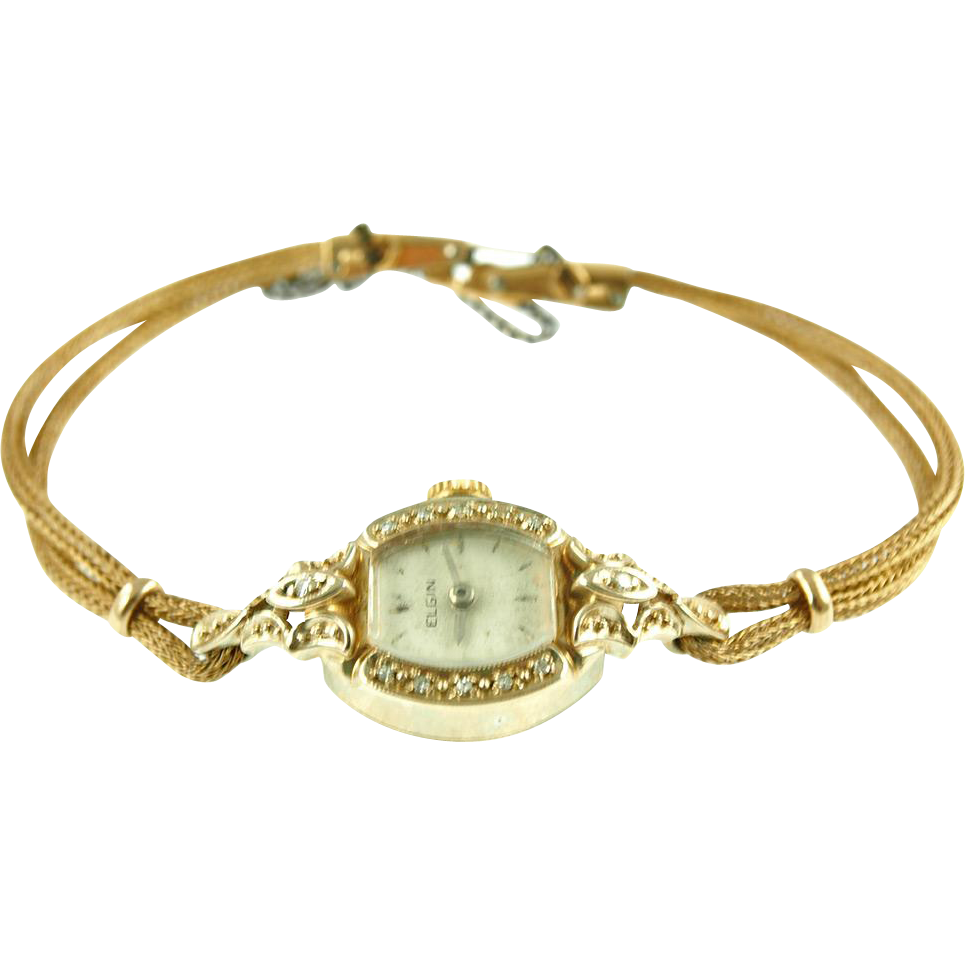 Vintage Ladies 14K Elgin Diamond Watch